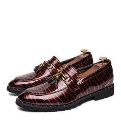 Hombres Piel Brillante Borla Mocasines Casual Zapatos de vestir Mocasines de caballero