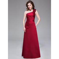 Vestidos princesa/ Formato A Um ombro Longos Cetim Vestido de madrinha com Pregueado fecho de correr