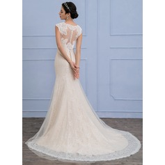 Trumpet/Mermaid Court Train Tulle Lace Wedding Dress