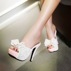Women's Sparkling Glitter Stiletto Heel Sandals Pumps Platform Slippers With Bowknot shoes (087124631)