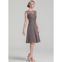 A-Line/Princess Scoop Neck Knee-Length Chiffon Lace Cocktail Dress (016174096)