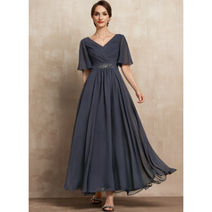 A-Line V-neck Ankle-Length Chiffon Mother of the Bride Dress With Ruffle Beading Sequins