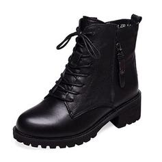 Frauen PU Stämmiger Absatz Geschlossene Zehe Stiefel Stiefelette mit Reißverschluss Zuschnüren Schuhe