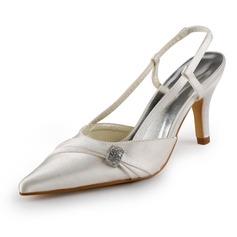 Pour femme Satiné Talon aiguille Bout fermé Chaussures à talon découvert avec Strass