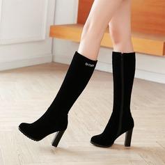 Naisten Mokkanahka Chunky heel Avokkaat Kengät Knee saappaat jossa Vetoketju kengät