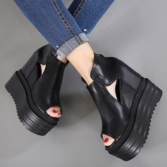Frauen Kunstleder Flache Schuhe Peep Toe mit Schnalle Reißverschluss Hohl-out Schuhe