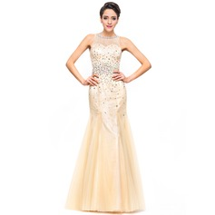 Trumpet/Mermaid Scoop Neck Floor-Length Tulle Lace Prom Dress With Beading Sequins