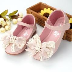 Flicka rund tå Microfiber läder platt Heel Flower Girl Shoes med Beading Bowknot Kardborre