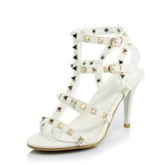 De mujer Cuero Tacón stilettos Sandalias Salón con Rivet zapatos