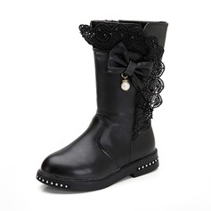 Girl's Round Toe Mid-Calf Boots Leatherette Flat Heel Flats Boots With Bowknot Imitation Pearl Zipper