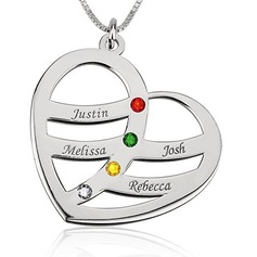 Custom Silver Four Name Necklace Heart Necklace Birthstone Necklace Engraved Necklace - Christmas Gifts