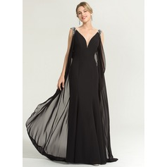 Sheath/Column V-neck Floor-Length Chiffon Evening Dress With Beading Sequins (017167686)