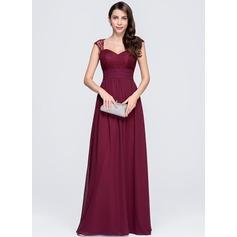 Vestidos princesa/ Formato A Coração Longos De chiffon Vestido de festa com Pregueado