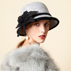 Ladies' Glamourous/Charming/Romantic Wool With Silk Flower Bowler/Cloche Hats