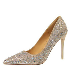 Vrouwen Kunstleer Stiletto Heel Pumps Closed Toe met Strass schoenen