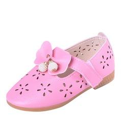 Mädchens Round Toe Geschlossene Zehe Leder Flache Schuhe Blumenmädchen Schuhe mit Bowknot Klettverschluss