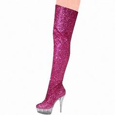 Kvinnor Glittrande Glitter Stilettklack Pumps Plattform Stövlar Over The Knee Boots med Glittrande Glitter skor