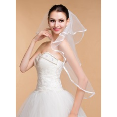 One-tier Ribbon Edge Elbow Bridal Veils With Ribbon (006096814)