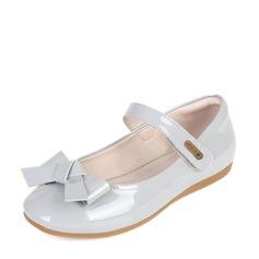Fille de Bout fermé Cuir verni talon plat Chaussures de fille de fleur avec Bowknot Velcro