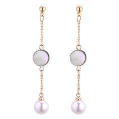 Nice Imiteret Pearl Akryl Kobber med Imiteret Pearl Kvinder Mode øreringe (Sæt af 2)