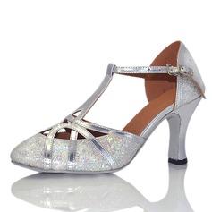 Kvinnor Glittrande Glitter Klackar Sandaler Bal med T-Rem Spänne Ihåliga ut Dansskor