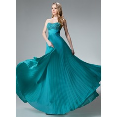 Empire Sweetheart Floor-Length Chiffon Holiday Dress With Beading Pleated (020003246)