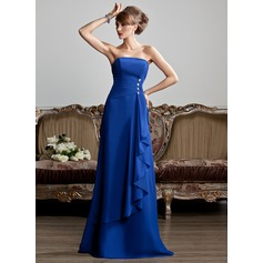 A-Line/Princess Strapless Floor-Length Chiffon Evening Dress With Beading Cascading Ruffles