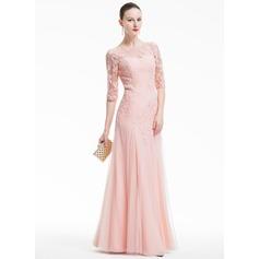 Vestidos princesa/ Formato A Decote redondo Longos Tule Vestido de festa com Apliques de Renda