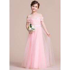 A-Lijn/Prinses Off-the-schouder Vloer lengte Tule Junior Bruidsmeisjes Jurk