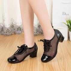 Mulheres Couro verdadeiro Sem salto Treino Sapatos de dança