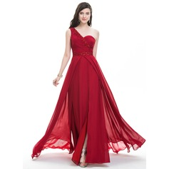 A-Line/Princess One-Shoulder Sweep Train Chiffon Evening Dress With Ruffle Beading Sequins Split Front