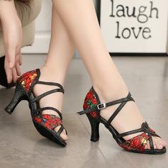Mulheres Tecido Saltos Sandálias Latino com Correia de Calcanhar Sapatos de dança