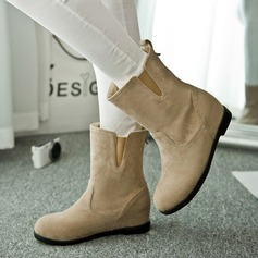 Women's Suede Wedge Heel Wedges Boots Mid-Calf Boots shoes