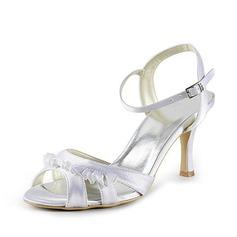 Women's Satin Stiletto Heel Sandals Slingbacks With Buckle Ruffles