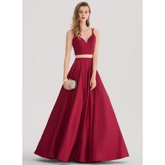 Robe Marquise/Princess Amoureux Longueur ras du sol Satiné Robe bal d'étudiant