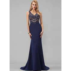 Trumpet/Mermaid V-neck Sweep Train Stretch Crepe Evening Dress With Beading Sequins (017229909)