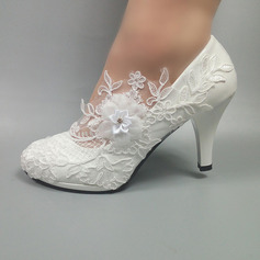 Women's Leatherette Stiletto Heel Closed Toe Pumps With Beading Stitching Lace (047153509)