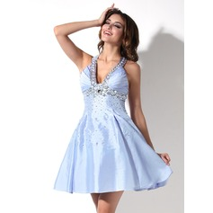 Empire V-neck Short/Mini Taffeta Homecoming Dress With Ruffle Sequins