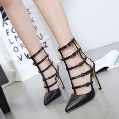 Women's PU Stiletto Heel Sandals Pumps Closed Toe With Hollow-out shoes