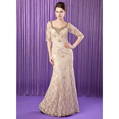 Trompete/Meerjungfrau-Linie Schatz Bodenlang Lace Kleid für die Brautmutter mit Perlen verziert Pailletten