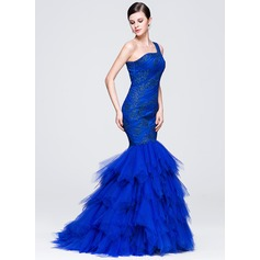 Trumpet/Mermaid One-Shoulder Sweep Train Tulle Prom Dress With Ruffle Appliques Lace