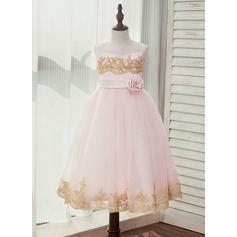 A-Line/Princess Tea-length Flower Girl Dress - Satin/Tulle/Lace Sleeveless Scoop Neck With Sash/Appliques/Flower(s) (Detachable sash) (010141204)