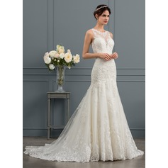 Trumpet/Mermaid Illusion Court Train Tulle Wedding Dress With Beading Sequins