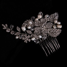 Hojas en forma Aleación/La perla de faux Peines y pasador