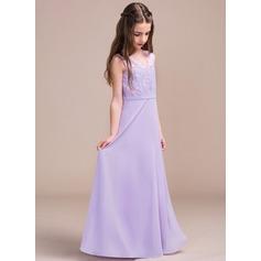 Corte A/Princesa Escote en V Hasta el suelo Gasa Encaje Vestido de Damita de honor