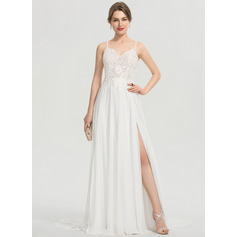A-Line V-neck Sweep Train Chiffon Evening Dress With Split Front