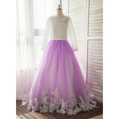 Sweep Train Flower Girl Dress - Satin/Tulle Long Sleeves Scoop Neck With Appliques
