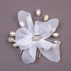 Charming Imitation Pearls/Net Yarn Combs & Barrettes