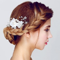 Moda Strass/Pérolas de imitação/Seda artificiais Flores & penas