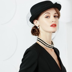 Wool With Tulle Bowler/Cloche Hat